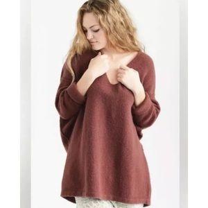Free People Softly Vee Sweater Oversized V-Neck XS